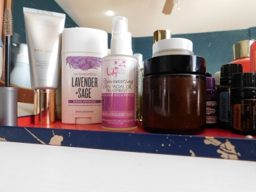 1. BC Dew Skin Moisturizer 2. Schmidt's Deodorant 3. Lily Farm Rejuvenating 7 Facial Oil 4. Snake Oak Farm Body Butter
