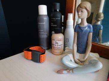 1. LP Dry Shampoo 2. LP Flex Hairspray 3. B&B Pret-a-powder 4. BC Volumizing Mist